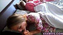 Teen chicks in cute PJs having a groupsex party with a guy