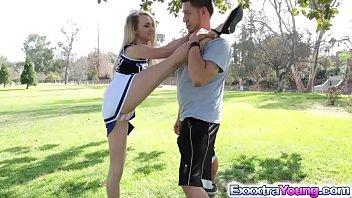 Petite cheerleader Carmen fucks with a stranger