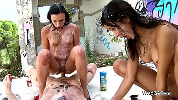 Fruits and cream hardcore threesome anal in public