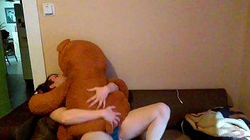 Home alone fucking my teddybear hard