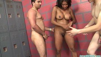 Tight Young Ebony Teen Gets Big Butt Gangbanged