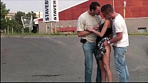Extreme public sex gang bang threesome with a cute petite teen girl