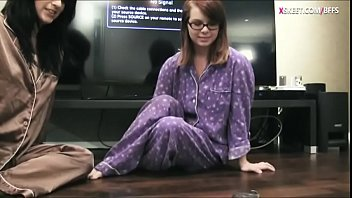 Adorable teen girls pajama party and one of the girls with glasses gets her pussy pounded by her friend wearing strapon dildo