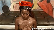 Black ho gets first anal and hard throat fucking