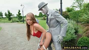 Living statue fucks cock hungry slut with his huge cock