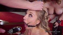 Gagged slave deep throated in threesome