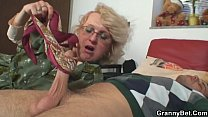 Shaved pussy grandma pleases young boy 6 min