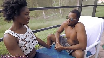 BBC Neighbor Is First to Fuck Shaved Pussy Ebony Girl Next Door
