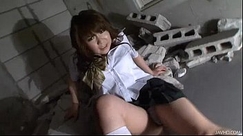 Two horny Japanese men attack Meina with oil and cocks