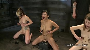 Group of naked slaves getting torment