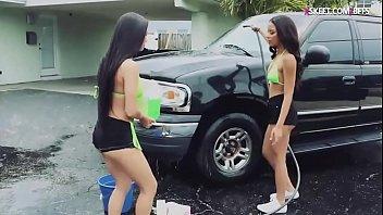 Hot teens washing cars and get banged