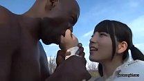 Japanese cute teen girl blowjob black man