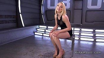 Long legged solo blonde machine fucked