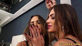 Sensual trans beauty wanks hard cock till cum