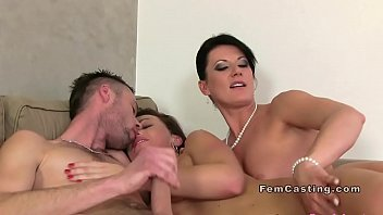 Busty female agent bangs with couple
