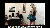 Busty brunette secretary Kiera King seduces her bosses at work