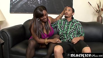 Chubby ebony Kim Eternity gets her big boobies creamed