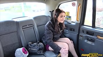 Sexy petite brunette in heels does anal in a fake taxi