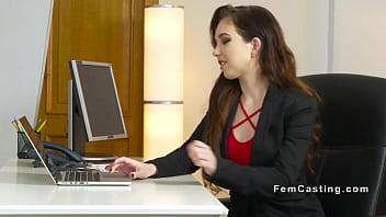 Female agent vibrates brunette lesbian