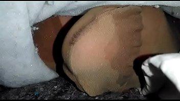 My wife's sewing pantyhose feet 2 min