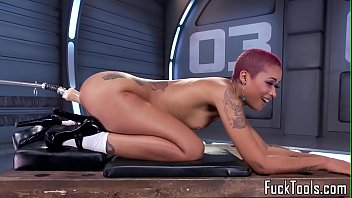 Pink hair ebony babe toys pussy with dildo