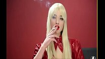 smoking leather girl