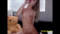 Blonde exposing her perfect pink teen pussy on closeup