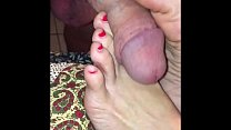 anita cummings gives foot job, hand job, jerk off encouragement