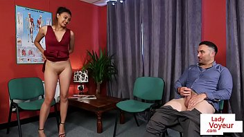 Alluring beauty helps sub to jerk off