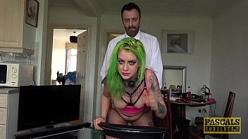 Tattooed British subslut punished with rough anal sex