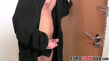 Cock sucking twink lover fucked in tight ass until he cums