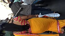 Cute structure of aunty in yellow saree