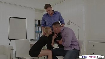 Office jocks fuck ass and pussy during mmf