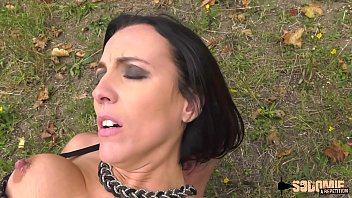 Lactating brunette milf ass-fucked outdoor
