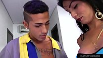 Horny Tgirl Nicolly Pantoja and a Dude Fuck Each Other in the Ass