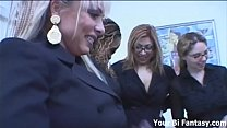 The secretaries give the boss a hard strapon pounding