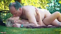 Petite teen fucked hard by grandpa on a picnic she blows and swallows him 10 min