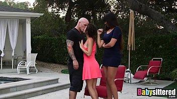 Tattooed fucker gets to slamm two hot babbysitters hard