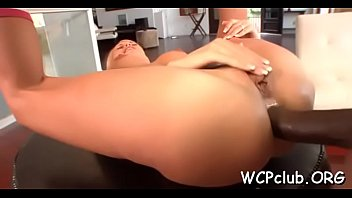 Darksome chick feels enormous big darksome dick in mouth and wazoo