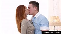 Young redheaded vixen Candy Red is passionately fucked with a huge cock
