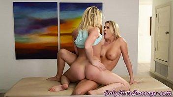 Busty massage lesbian scissoring gorgeous gal