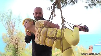 Yellow haired slave d. in public