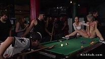 Hot blonde humiliated in public pool bar