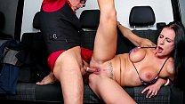 BUMS BUS - Texas Patti riding cock in the backseat of a German van