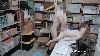 Sexy busted thief pounded hard on guards desk