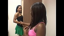 Nice tits ebony amateur duo babes suck and fuck a white dong on the couch