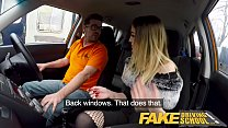 Fake Driving School Petite learner with small tits eats instructors cum