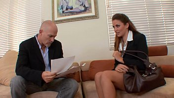 Lucky CEO with massive rod fills up his young secretary Allie Haze's cunt in his office