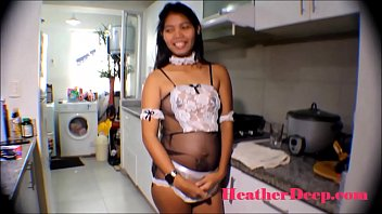 HD 19 week pregnant thai teen heather deep in maid outfits gives deepthroat and creamthroat in the kitchen