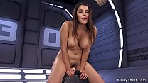 Busty babe takes machine up her ass